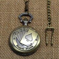 Wholesale Steampunk Wholesalers - Wholesale-Poker Pattern Watch Vintage Style Bronze Steampunk Pendant Chain Clock Quartz Pocket Watch Free Shipping P80C