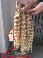 Wholesale 18 Platinum Blonde Hair Extensions - Platinum Deep wave Blonde Brazilian Hair Wefts #613 Blonde Human Hair Weaving Wefts Deep wave Hair Bundles Extensions 3pcs lot