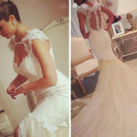 Wholesale Wedding Dress Designers China - Unique Designer Mermaid Wedding Dresses 2017 Chapel Train Tulle Appliqued Lace China Bridal Gowns New Style Cap Sleeve Bride Dress