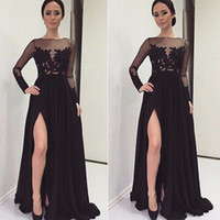 Wholesale Transparent Chiffon Shirt - Hot Sale Long Sleeve Black Evening Dresses Sexy New 2017 Lace Chiffon Front Split Formal Transparent Prom Gowns Custom Made Robe de Soiree