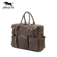 Wholesale Genuine Leather Cross Shoulder Bags - Wholesale- CROSS OX Vintage Crazy Horse Genuine Leather Men Travel Bags Business Men's Shoulder Bags Cowhide Male Laptop Bag bolsas HB410M