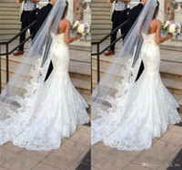 Wholesale lace wedding dresses long veils resale online - New Best Selling Long Veil One Layer Tulle Wedding Veils Appliques Lace Bridal Veils White Ivory Veils for Wedding Dresses