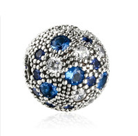 Wholesale European 925 Stopper Bead - TopeasyJewelry 2017 Summer New Blue Cosmic Stars Fixed Clip Charm Beads For Jewelry Making 925 Sterling Silver Decorative Stopper Bead