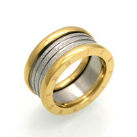 Wholesale Top Brands China - wholesale New Fashion Jewelry Top Quality Lovers Luxury Brands Rings 11MM Wedding Black Stainless Steel Solid Ring For Men And Women Party