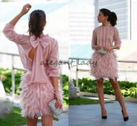 ingrosso lunghi abiti chiffon grigi-Splendida piuma brevi abiti da ballo rosa maniche lunghe schiena aperta con abiti da sera di prua abiti da cocktail party per occasioni speciali
