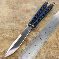 Wholesale Blue Steel Knife - Theone BM42 mirror  Blue Special version Balisong Butterfly knife Milled Skeletonized Polished Finished Stainless Steel Handles Spring Latch
