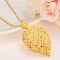 Dubai Necklace for Women, Ethiopian Plume Pendant Necklace 24k Yellow Solid Or Filled Jewelry Afrique / Arab Flower Pretty Gifts