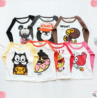 Wholesale Cartoon Bear Long Sleeved Shirt - Baby T-shirts 2017 Summer Tops Cartoon Mickey Mouse Bear Printed Cotton Tees Newborn Toddler Infant Outwear Kids Clothes Children Clothing