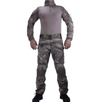 Wholesale Uniform Tacs - Hunting Camouflage A-TACS Combat uniforms shirt with broek and elbow & knee pads militaire game cosplay uniform ghilliekostuum