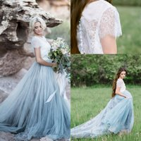 Wholesale Fairy Gowns - 2017 New Fairy Beach Boho Lace High-Neck A Line Wedding Dresses Soft Tulle Cap Sleeves Backless Light Blue Skirts Plus Size Bridal Gown