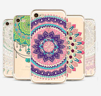 Wholesale Iphone Floral Cases - Henna White Floral Paisley Flower Mandala Elephant Dream Catcher soft TPU phone Case Cover For iPhone 4 5 6 7Plus Samsung