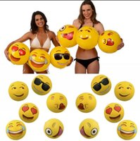 Wholesale Kids Inflatable Pool Balls - Emoji Beach Ball 12 inch Inflatable PVC Smile Face Ball Toys Cartoon Summer Sport Outdoor Water Fun OOA1984
