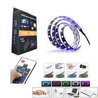HI-Q 5050 DC 5V USB RGB LED Strip impermeable 30LED / M USB LED tira tira de neón flexible 50CM 1M 2M remoto para TV de fondo en stock