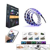 Wholesale Led Rgb 45w - HI-Q 5050 DC 5V USB RGB LED Strip Waterproof 30LED M USB LED Light Strips Flexible Neon Tape 50CM 1M 2M Remote For TV Background in stock