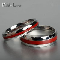 Wholesale Firefighter Jewelry - Keisha Lena Hot sale Red Line firefighter rings for men women Lover's couple ring 316L stainless steel engagement jewelry