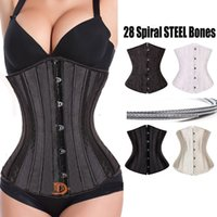 Wholesale Tights Bones - 2017 New Fashion 28 Spiral Steel Boned Corset Underbust Corsets and Bustiers Tight Lacing Waist Trainer Plus Size Body Shaper