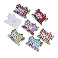 Wholesale projects sewing - Random Mixed Color Sewing Machine Style Wooden Buttons With 2 Holes Buttons 26x20mm For Children'S Clothing Art Project Pack Of 50pcs I527L