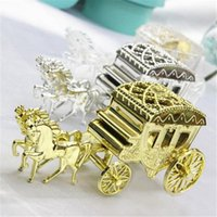 Wholesale Cinderella Carriage Favors - Wholesale- Cheap 5pcs Lot Cinderella Carriage Clear Gold Silver Royal Candy Box wedding Favors And Gifts Event Party Supplies decoration