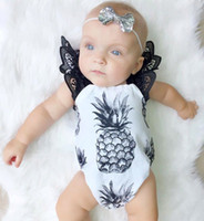 Wholesale Infant Ruffled Rompers - Baby INS pineapple Rompers Girl Cotton Lace print Flying sleeve romper Bow Girls Ruffled Jumpsuit Toddler Infant clothes 0-2T B