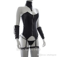 Wholesale Thong Restraints - sexy Womens Sex Fetish Wear Set Black Faux Leather Waist Corset Suspender with Neck Collar and Gloves and Thong Gothic Punk