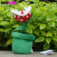 Wholesale mario bros brothers - New Super Mario Brother Bros Pianta Piranha Packun Flower Plant Soft Peluche Stuffed Plush Animal Doll Kids Toys Tracking