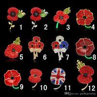 dame rote brosche groihandel-Royal British Legion Broschen Red Crystal Atemberaubende Poppy Flower Pins für Lady Fashion Abzeichen Brosche als Prinzessin Kate