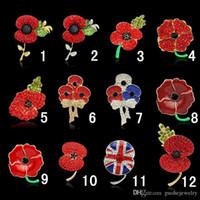ingrosso spilla stupefacente-Spille Royal British Legion Red Crystal Stunning Poppy Flower Pins per Lady Fashion Badge Spilla come Princess Kate