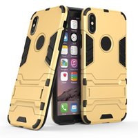 Wholesale ironman apple online – custom For iPhone Case Hybrid Armor Shockproof Full Protection Cover With Kickstand TPU PC Robot Ironman Defender Case For iPhone7 Samsung S8Plus