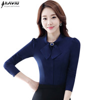 b5ffa583eefe4 Spring summer female career shirt OL Elegant long-sleeve slim bow chiffon blouse  office Formal plus size work wear women s tops