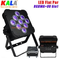 Wholesale American Dj Uv - (10pcs Lot Flightcase)High Quality UV Color American DJ DMX Wash Par Lights RGBWA+UV 6in1 9x18W LED Flat Par Can