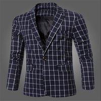 Wholesale Korean Tuxedo Jackets - Wholesale- 2016 New Men Korean Slim Men's Casual Plaid Suit Single-breasted Tuxedo Jacket Dress Shirt Tide Male Wedding