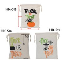 Indoor Christmas Decoration Canvas Luminous Newest Halloween Sacks Candy Gifts Bag 34X42CM Treat & Trick Drawstring Bags Cotton Canvas Kids Pumpkin Spider Tote Bag 0708087
