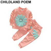 Wholesale Children Autum Clothes - Wholesale- Spring Autum newborn baby girl clothes Flower baby girls clothing set children pullover full T shirt+pant baby clothing set