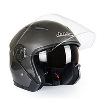 Wholesale Motorcycle Half Helmet Yellow - Wholesale- Motorcycle Helmet Male Female Four Seasons capacete para motocicleta cascos para moto Double Lens RACING HALF HELMETS