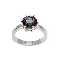 Wholesale rainbow fire topaz jewelry - Wedding Band Ring Sterling Silver Rainbow Fire Mystic Topaz Hermosa Gemstone Women Fashion Jewelry Prom Gift Round Shape Ring Size 7 8 9