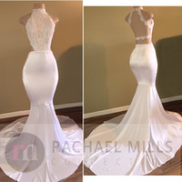 Wholesale Halter Top High Neck Dress - 2017 New Hot Halter High Neck White Prom Dresses Criss Cross Backless Mermaid Lace Top Satin Long Train Evening Gowns Formal Robe de soriee