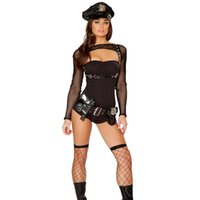 TV & Movie Costumes black police uniforms - 2017 Hot Summer Halloween Military Uniform For Women Sexy Halloween Party Adults Costume Womens Cosplay Costume Police Hottie Costume