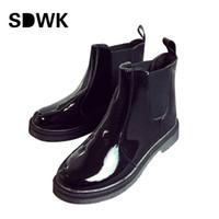 Wholesale Rain Boots Ladies - Wholesale- Platform Rain Boots Ladies Patent Leather Ankle Boots Low Heels Women Boots Slip On Flats Shoes Woman Plus Size 35-40 B180