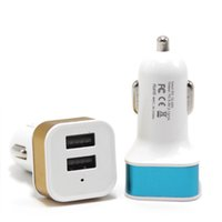 Wholesale Dual Car Port - Promotion Metal 2.1A Dual USB 2 Port Car Charger Adapter For Tablet Ipad Iphone5 6 6Plus Samsung S6edge Note4 Note3 Mobile Phone