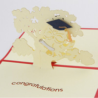 Wholesale handmade graduation cards resale online - Graduation season Thanksgiving card D kirigami postcards handmade gift stationery kcs