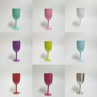 Wholesale Champagne Glasses Wholesale - 10oz Stainless Steel Wine Glass 9 Colors Double Wall Insulated Metal Goblet With Lid Rambler Colster Tumbler Red Wine Rambler Colster