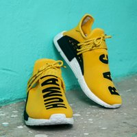 """Wholesale Dresses For Races - PW HUMAN RACE NMD """"PHARRELL"""" BOOST SHOES, Dressed in bright yellow nmds runner for breathable and flexible primeknit upper with box"""