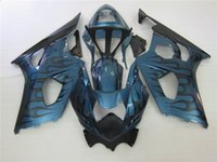 Wholesale plastic injection molded - Injection molded plastic fairing kit for Suzuki GSXR1000 2003 2004 black flames blue motorcycle fairings set GSXR1000 2003 2004 OT04