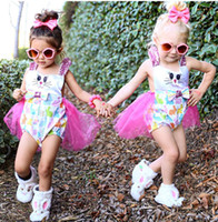 Wholesale Tutu Skirts Patterns - Baby Clothing Summer Girls Dresses Cute Animal Pattern Cotton Lace Romper Tutu Skirt Children Kids Clothes