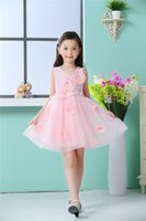Wholesale Bow Tie Styles For Girls - 2017 summer autumn baby girls bow tie Pink dress, sleeveless contton for kids clothing