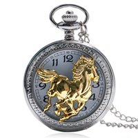 Wholesale Horse Gear - Wholesale-Pocket Watch Golden Running Horse Hollow Gear Quartz Watches 2016 Men Women Gift With Chain Fob P1045