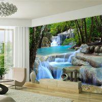 Wholesale Lake Mural - Wholesale- Free Shipping lake forest landscape 3D wallpaper living room bedroom wallpaper mural