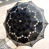 Wholesale Ladies Black Parasol - New Black Bridal Accessories Wedding Lace Parasol White Lace Umbrella Victorian Lady Costume Accessory Bridal Party Decoration