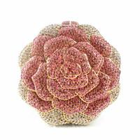 Wholesale Crystal Rose Evening Handbag - Wholesale- Crystal Rose Diamond Handbag Clutch Bag Rhinestone Newest Evening Bag Red Purse