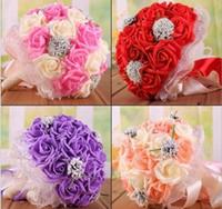 ingrosso fiori di cascata viola-Rose Artificial Bridal Flower Bouquet da sposa Fiori Bouquet da sposa Bouquet da sposa Bouquet da sposa